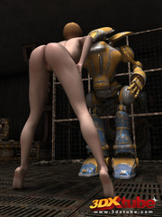 Blonde girl's pussy is pleasured by a huge robot on - Picture 9