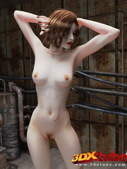 Beautiful white brunette girl poses naked in an - Picture 3