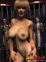 Busty babe exposes her pink pussy with two naked - Picture 4
