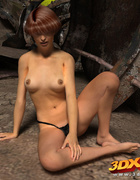 Horny and sexy brunette raider babe strips naked in future dead world!