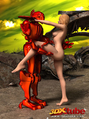 Naked blondie gets pussy pleasured by an orange robot - Picture 8