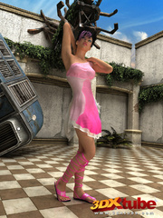Purple-haired babe strips her pink heels and nightie - Picture 1