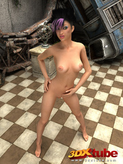 Purple-haired babe strips her pink heels and nightie - Picture 4