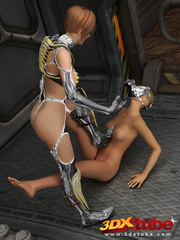 Master babe in titanium clothing fingers her slave - Picture 3