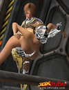 Master babe in titanium clothing fingers her slave with titanium pig mask!