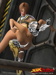 Master babe in titanium clothing fingers her slave - Picture 4