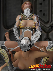 Master babe in titanium clothing fingers her slave - Picture 5