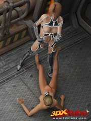 Master babe in titanium clothing fingers her slave - Picture 7