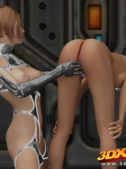 Master babe in titanium clothing fingers her slave - Picture 8
