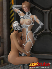 Master babe in titanium clothing fingers her slave - Picture 9