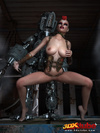 Punk rebel reveals big boobs and gets fucked by a titanium robot.