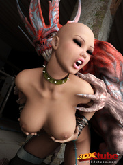 Bald warrior is fucked very rough by a scaly red - Picture 7