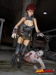 Curly redhead's hairy box is fucked by rotting zombie - Picture 1