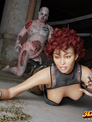 Curly redhead's hairy box is fucked by rotting zombie - Picture 2