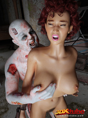 Curly redhead's hairy box is fucked by rotting zombie - Picture 4
