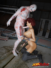 Curly redhead's hairy box is fucked by rotting zombie - Picture 7