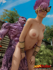 Purple-haired steampunk babe is fucked by hung purple - Picture 7