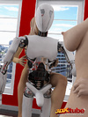 Skinny white and black robot puts the moves on two jaw-dropping blonde