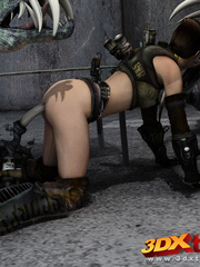 Raider babe is fucked in the pussy by a scary - Picture 4