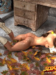 Babe gets naked on pile of leaves to show amazing - Picture 5