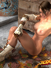 Babe gets naked on pile of leaves to show amazing - Picture 6
