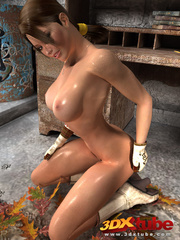 Babe gets naked on pile of leaves to show amazing - Picture 7