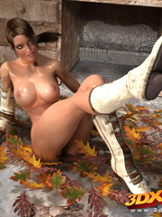 Babe gets naked on pile of leaves to show amazing - Picture 9
