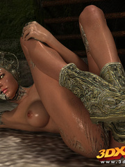 Scaly monster transforms into a sexy busty babe - Picture 5