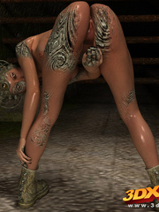 Scaly monster transforms into a sexy busty babe - Picture 8