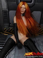 Long-haired redhead in kinky latex wear exposes all - Picture 2