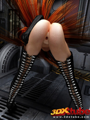 Long-haired redhead in kinky latex wear exposes all - Picture 6