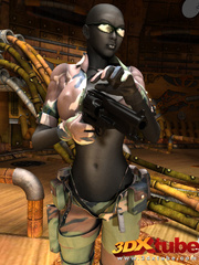 Sexy black soldier strips and shows her huge boobs - Picture 1