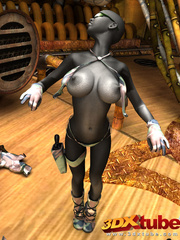 Sexy black soldier strips and shows her huge boobs - Picture 4