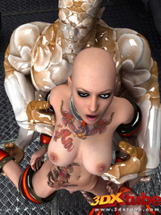 Tatooed android babe is fucked by a huge scaly alien - Picture 2