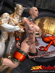 Tatooed android babe is fucked by a huge scaly alien - Picture 4