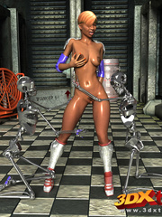 Horny black lady have sexual fun with two skeletal - Picture 8