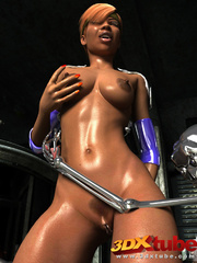 Horny black lady have sexual fun with two skeletal - Picture 9
