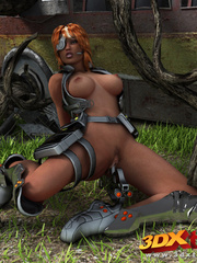 Black lady soldier pleasures her horny box using her - Picture 5