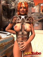 Tanned girl in armor gets down on the floor to show - Picture 1