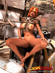 Tanned girl in armor gets down on the floor to show - Picture 4