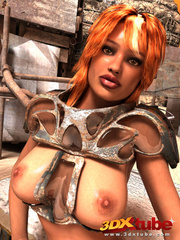 Tanned girl in armor gets down on the floor to show - Picture 5