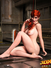 Redhead gets down on the dirty floor to finger hot - Picture 1