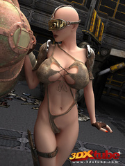 Busty post-apocalyptic babe gets kneels as she is - Picture 1