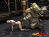 Busty post-apocalyptic babe gets kneels as she is fucked by robot!