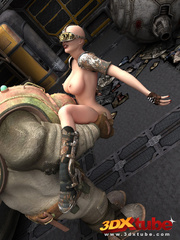 Busty post-apocalyptic babe gets kneels as she is - Picture 9