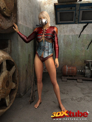 Blonde with metal mask gets naked on the floor to - Picture 1