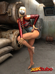 Blonde with metal mask gets naked on the floor to - Picture 2