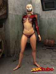 Blonde with metal mask gets naked on the floor to - Picture 3