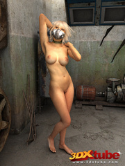 Blonde with metal mask gets naked on the floor to - Picture 4