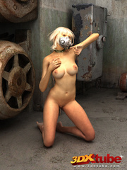 Blonde with metal mask gets naked on the floor to - Picture 6